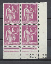 FRANCE FRANCIA 1937-1939 Type Semeuse fond plein 1,40fr Coins Datés MNH**/MH*