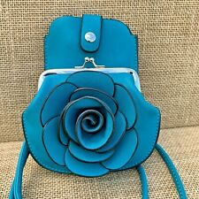 Turquoise Rose cross body bag small purse with Phone Spectacles Holder 2 straps