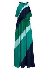 Vince Camuto Maxikleid Colorblock Chiffon grün blau Gr 40