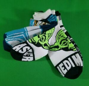 Disney Star Wars No Show Kids Socks 3 Pack Size 9-11 With COOL NEON Green Yoda