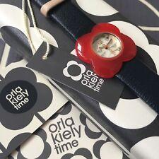 ORLA KIELY Poppy Navy & Red Flower Case Leather Strap Watch OK2062 NEW RRP £85