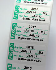 1000 Personalised PAT Test Labels 51 x 25mm Testing Sticker PASSED +10 FAILS