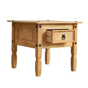 Solid Pine Wood Retro Coffee Table Square End Side Lamp Table Drawer Optional