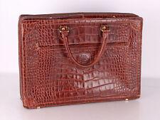 große Ledertasche Tasche Louise Fontaine rotbraun Krokoprägung 50 x 37 x 15 cm