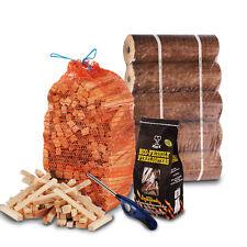 FIRE PIT CHIMINEA PACK 5 Large Wood Heat Fuel Logs, 3kg Kindling, Firelighters