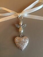 Bridal Bouquet Angel Heart Locket Memory Charm Wedding Handmade Swarovski Beads