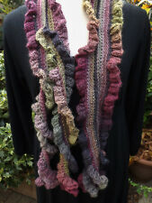 Frilly Crochet Scarf HANDMADE - Lavender & Green Multi Mix Quality Wool Mix
