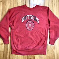 Vtg 90s Rutgers Champion Reverse Weave Crewneck Sweatshirt New Jersey Mens XL L