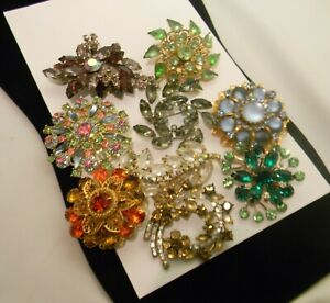 Vintage Rhinestone Brooch Pin 9 Piece Lot Variety Navette Assortment