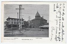 RARE Old Early Postcard - Irvington NJ - 1905 Hotel Town Hall Street New Jersey