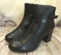 Womens Clarks Black Leather Zip Fastening Mid Heel Ankle Boots UK 5 D EUR 38