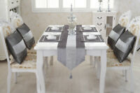 Silver Table Runner Set Diamante Cushion Chenille Placemat Tassel Wedding Decor
