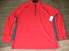 Men's Outdoor Life Yosemite Zip Mock Polyester Shirt, Red, Large, Brand New