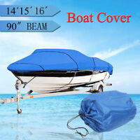 14 15 16ft Heavy Duty Speedboat Boat Cover Blue Waterproof Match Fish-Ski V-Hull
