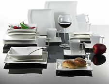 30PC Complete Dinner Set Square Plates Cup Ceramic Dinnerware Kitchen Dining Set