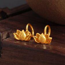 Pure 999 24K Yellow Gold Earrings / Women Perfect Lotus Stud Earring/ 2.1-2.4g