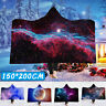3D Printing Outer Space Hooded Blanket Super Soft Throw Wrap Plush Windproof  A