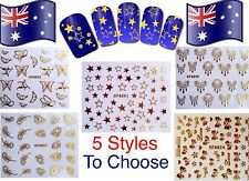 Nail Art Transfer Stickers Metallic Gold Water Decals 5 Styles to Choose AUSSIE