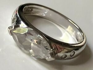 'Diamonique @ QVC' sterling silver and clear CZ cluster stone ring band size O