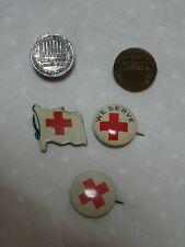 American Red Cross Pins Old Patria Pinbacks Fold backs Lapel Lot of 5 Sterling