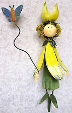Cute Whimsical 3D Metal Garden Stake ~ Yellow Flower Dress Butterfly Fairy