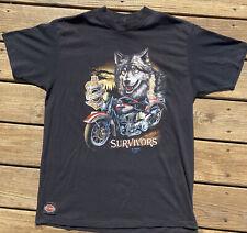 Vintage 3D Emblem Harley Davidson Shirt SURVIVORS Wolf 1991 Size XL Patch USA