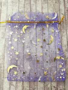 Purple Organza Bags x25 Star and Moon 9 x 12 Small Wedding Party Jewellery Gift