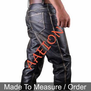 Men's Real Distressed Leather Bikers 5 Pockets Pants Rub Off Pants + FREE BELT