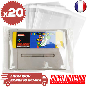 20 Protections Sachet Pochette Refermable Transparente Jeux Super Nintendo Loose
