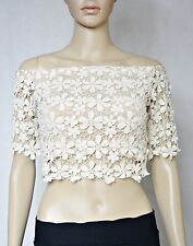 BNWT LILY WHYT Off Shoulder Crop Top 8 S Floral Crochet Sexy Party Club Summer