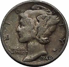 Mercury Winged Liberty Head 1940 Dime United States Silver Coin Fasces i43087