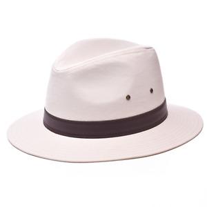Mens Summer Fedora Cotton Wide Brim Trilby Sun Hat Holiday Panama Beach Travel