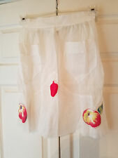 Vintage Sheer Half Apron White w/ Stitched Fruit & Two Front Pockets Back Tie