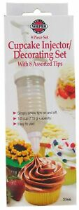 Norpro 3566 White BPA Free Cupcake Injector & Decorating Set with Assorted Tips