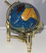Multi-Gemstone 90mm Desktop Globe In Turquoise Pearl on Gold Tone Base Free S&H