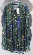 Womens Long Tunic Blouse Size 3X Green Blue Feather Button Front Empire Long Top