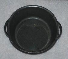 Vintage Enamelware Graniteware Round Shallow Pan Pot 2 Handle