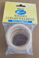 Swish Wooden Curtain Pole Rings 35mm Natural Effect Pack Of 4, FREE P&P Same Day