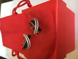 Ohrringe mit Silber 925 gestempelt Creolen weiß-schwarz Zirkonia nue