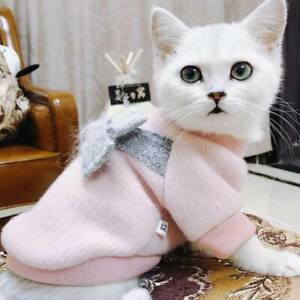 Pet Dog Cat Bowknot Clothes Knit Vest Coat Puppy Costumes Cute P3