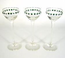 3x Jugendstil Glas Stengelglas Punkte Dekor Art Nouveau Glass um 1920 RARE 14cm