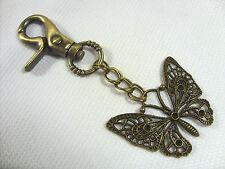 A Vintage Bronze Large Butterfly  Charm Keyring, Key Chain Handbag, Bag Charm