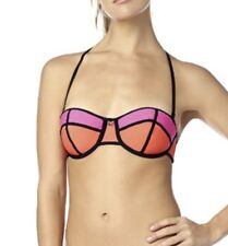 Fox Racing CAPTURE Balconet Bikini Top Removable Halter Straps Orange Pink XL