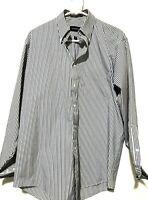 Gant Mens Long Sleeve Button Down Dress Shirt White Blue Size 15.5 32/33