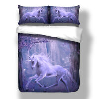 Unicorn Animal Doona Duvet Quilt Cover Set Single/Double/Queen/King Size Bed New