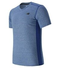 New Balance NB Men's Striped Sonic Tennis Top Size S Marine Blue