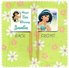 20 PERSONALISED DISNEY PRINCESS JASMINE CUP CAKE FLAG Aladdin Food Pick Topper