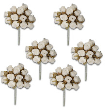 Craft Flowers QTY 72 - Poly Rosebuds With Dry Leaves - Ivory