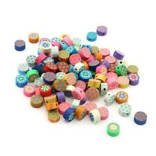 100X Wholesale Mixed round flower Fimo Polymer Clay Spacer Loose Beads 8x4MM