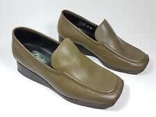 Clarks dark olive leather flat shoes uk 3 eu 36